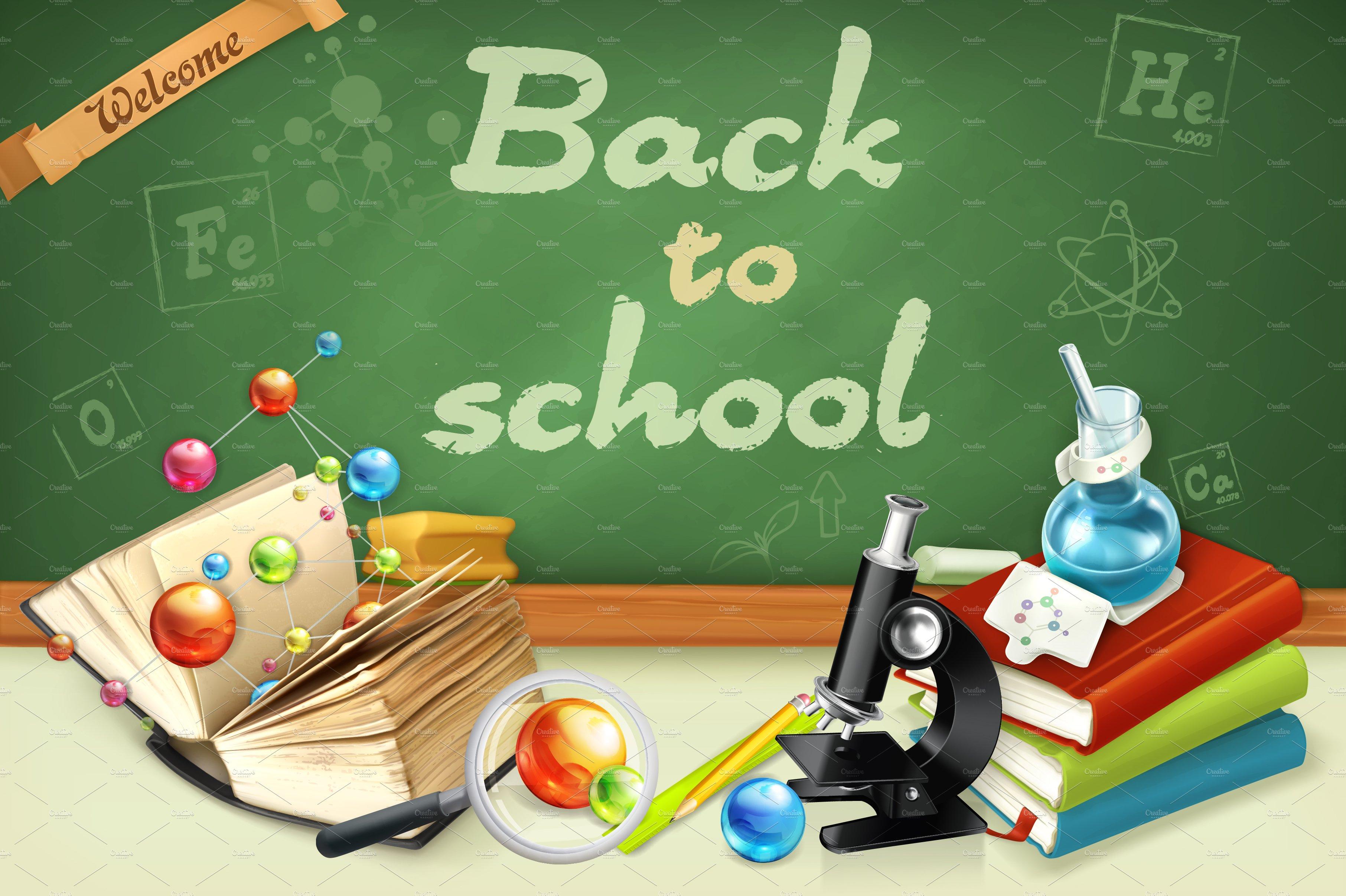 welcome back to school illustration illustrations creative market. Black Bedroom Furniture Sets. Home Design Ideas