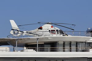 Helicopter in a luxury yacht