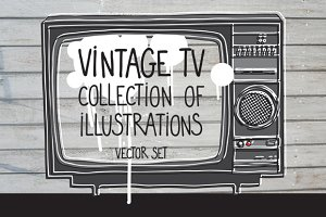 Vector collection of vintage TVs