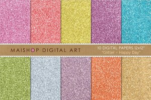 Digital Paper-Glitter-Happy Day