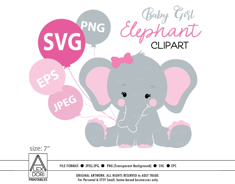 Cute Elephant SVG clipart ~ Illustrations ~ Creative Market