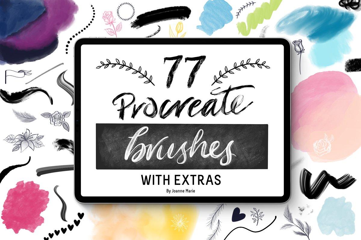 77 Procreate Brushes Bundle + Extras