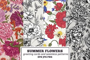Summer flowers greeting cards