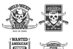 Set of vintage cowboy emblems