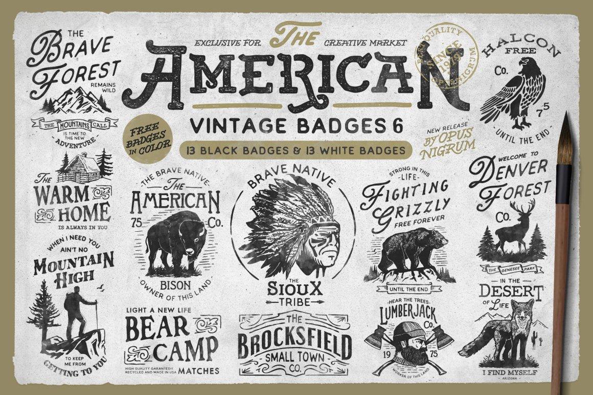 american vintage badges 6 logo templates creative market. Black Bedroom Furniture Sets. Home Design Ideas