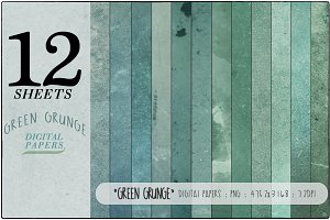 Green Grunge Digital Papers