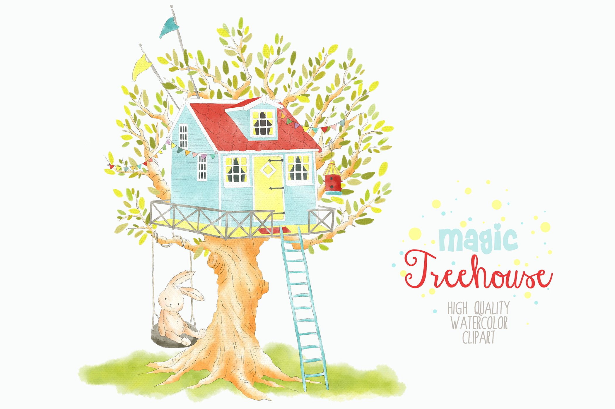 Treehouse Watercolor Clipart Png Illustrations Creative Market