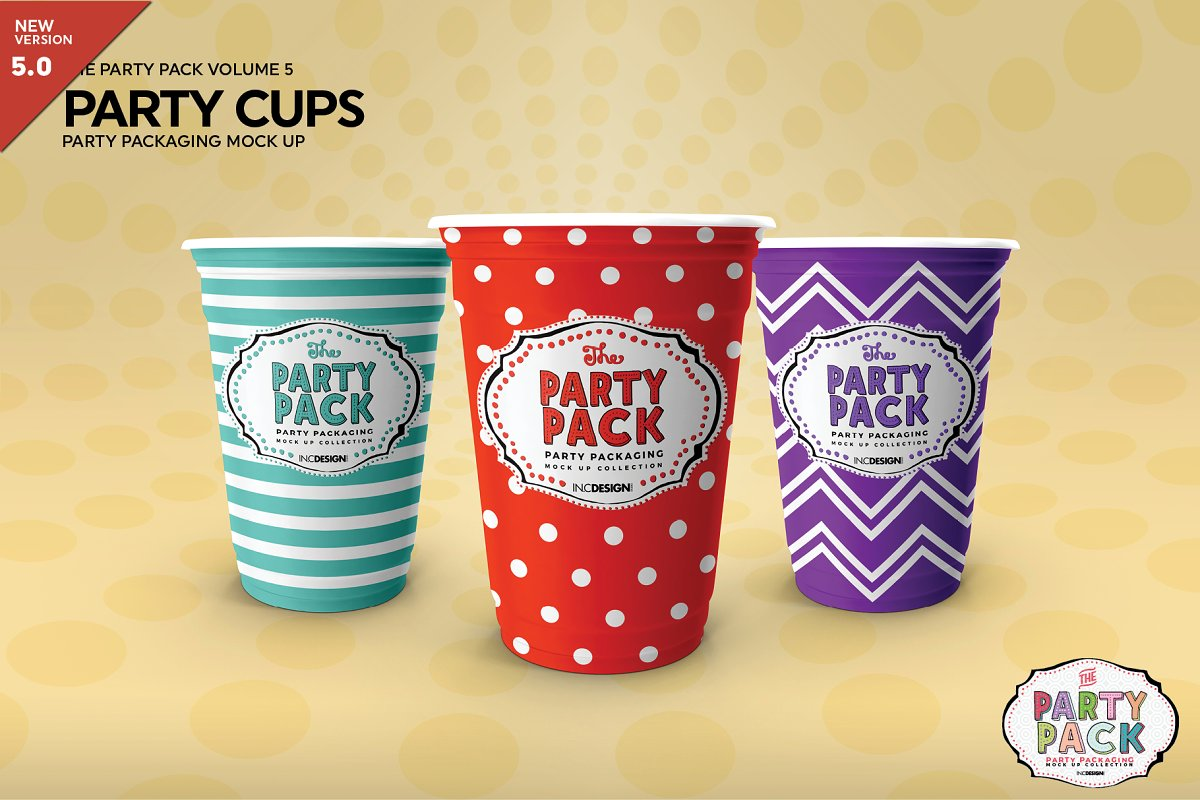 Party Cups Mockup in Branding Mockups
