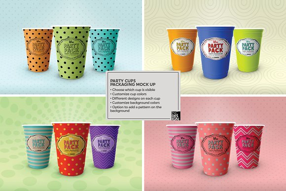 Party Cups Mockup in Branding Mockups - product preview 1