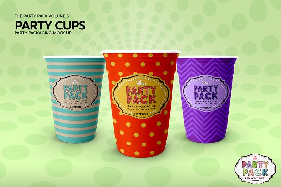 Party Cups Mockup in Branding Mockups - product preview 2