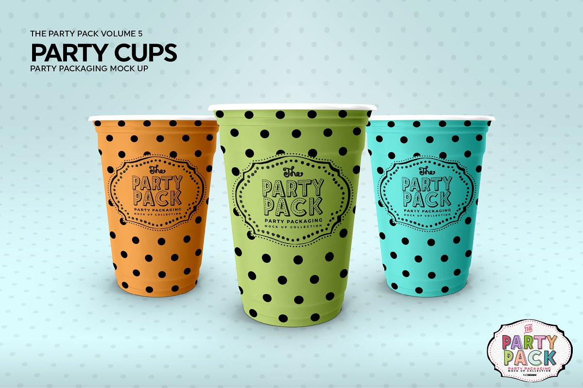 Party Cups Mockup in Branding Mockups - product preview 3
