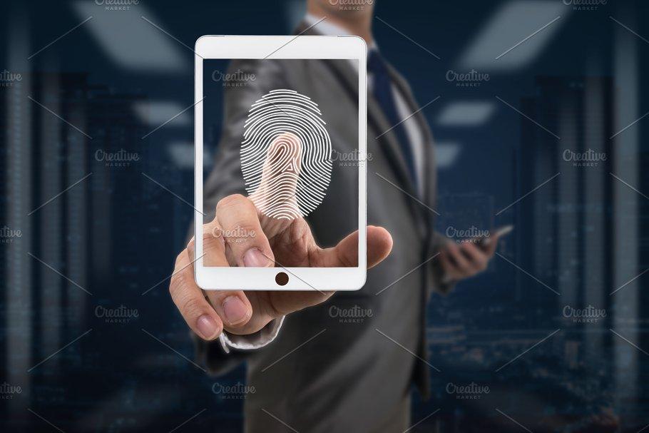 Businessman Fingerprint scan the sma