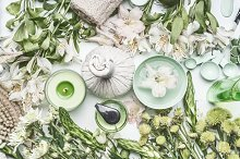 Green herbal spa cosmetics setting by  in Health