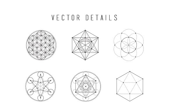Sacred Geometry Vector Illustrations Black