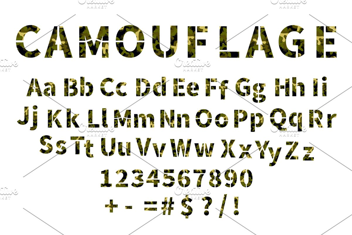 Camouflage military stencil font