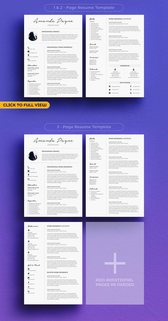 Minimal Resume CV Template Bonus Templates Creative Market