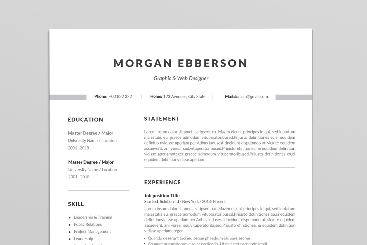 Clean One Page Resume Template Templates Creative Market