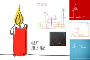 6 Xmas cards - continuous drawings
