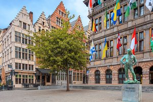 Cental square of Antwerp. City Hall