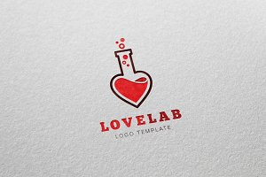 Love Laboratory Vector Logo Template