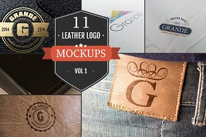 11 Cool Leather Logo Mockups - Vol.1