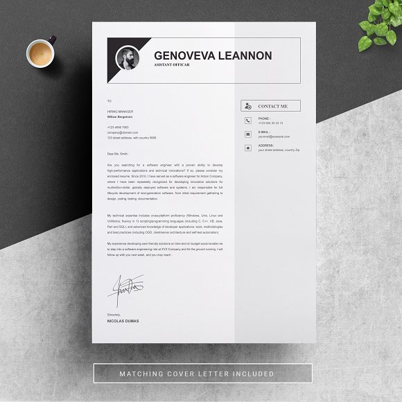 Resume Template And Cover Letter Cover Letter Templates Creative