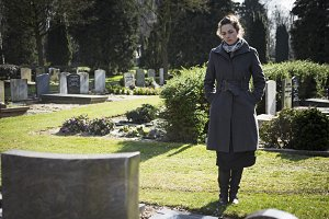 Women at graveyard