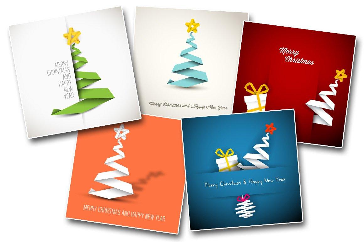 5 Simple Christmas Card Templates ~ Card Templates ~ Creative Market