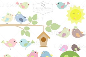 Lovebird Couples Clipart Set