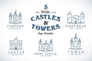 Line Style Vector Castle Logos
