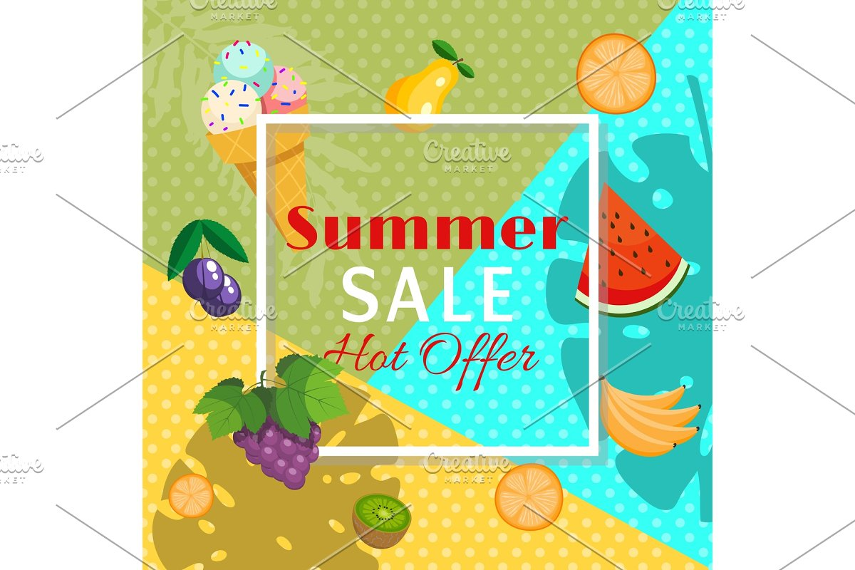 Summer sale banner with fruits such