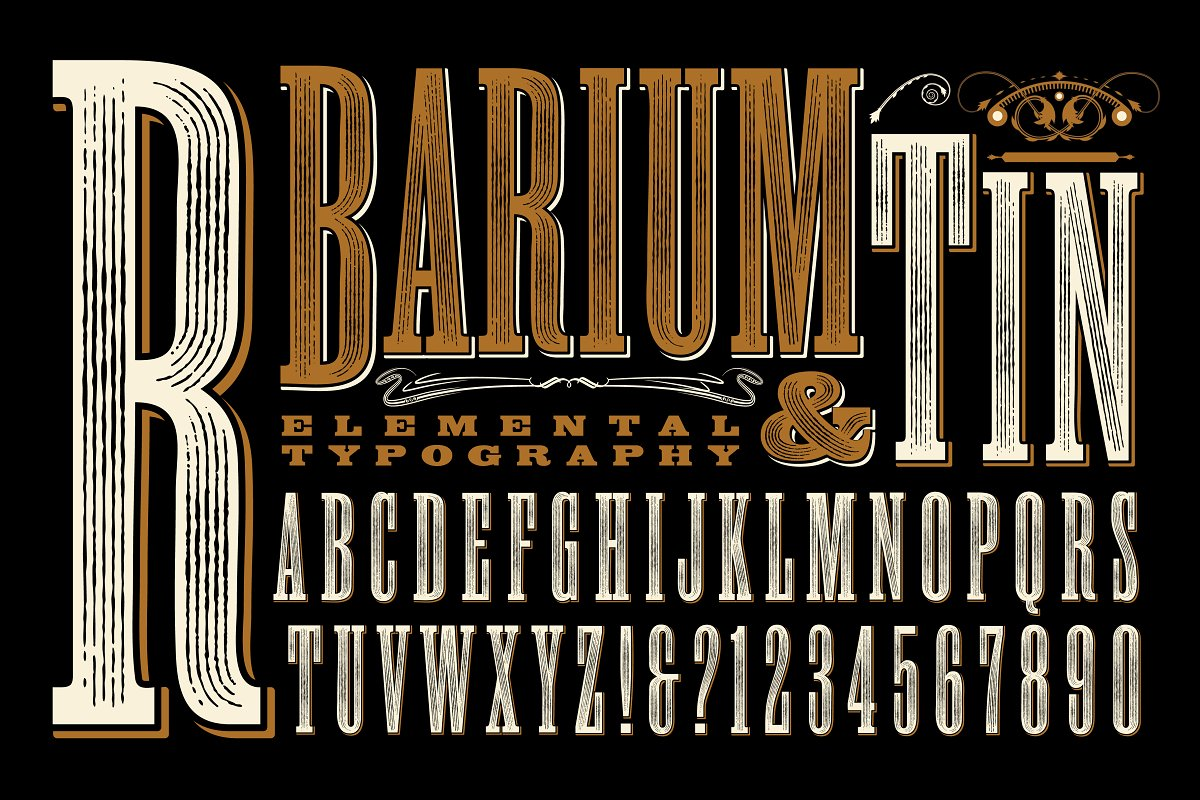 Barium & Tin Old-West Alphabet