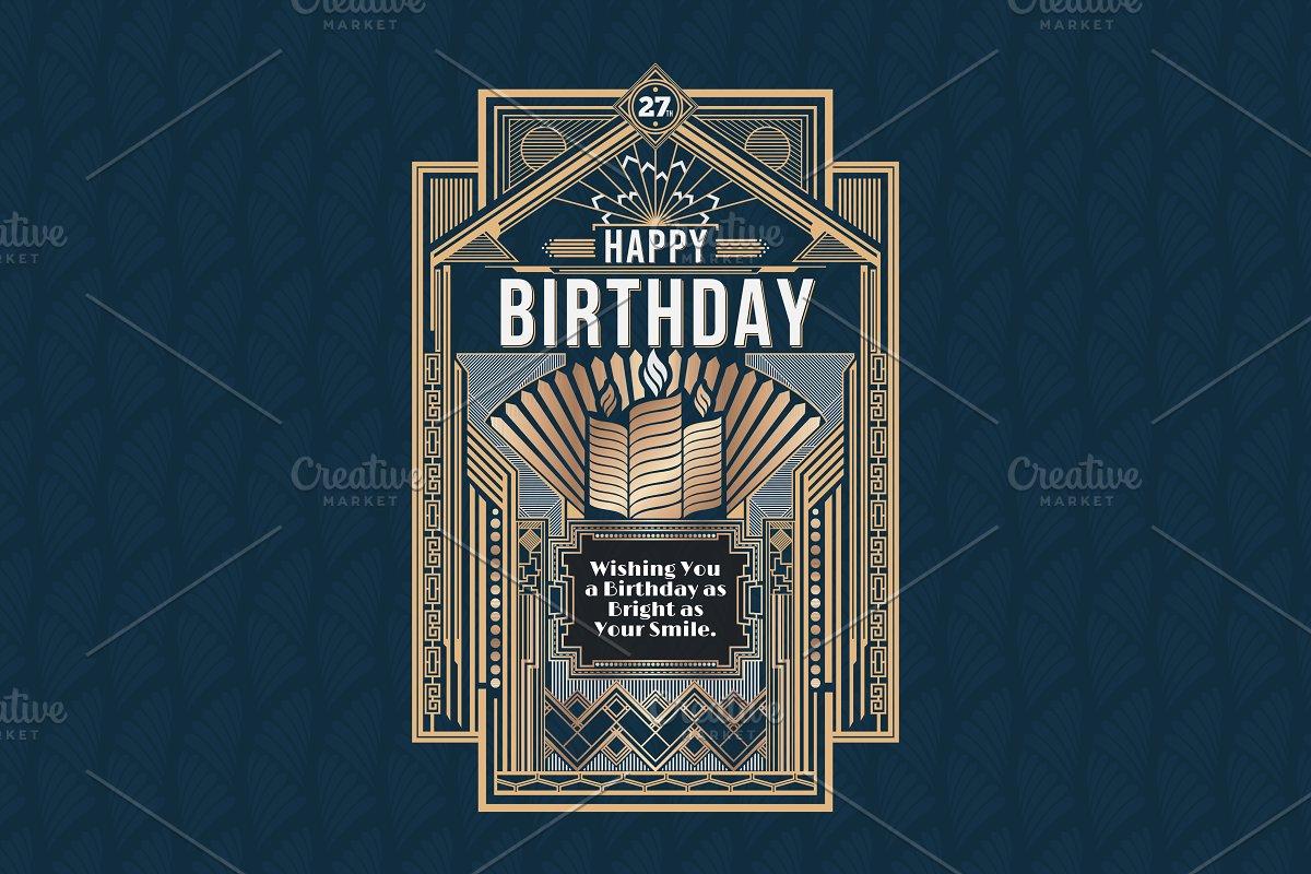 American Art Deco Birthday Card Illustrations Creative Market