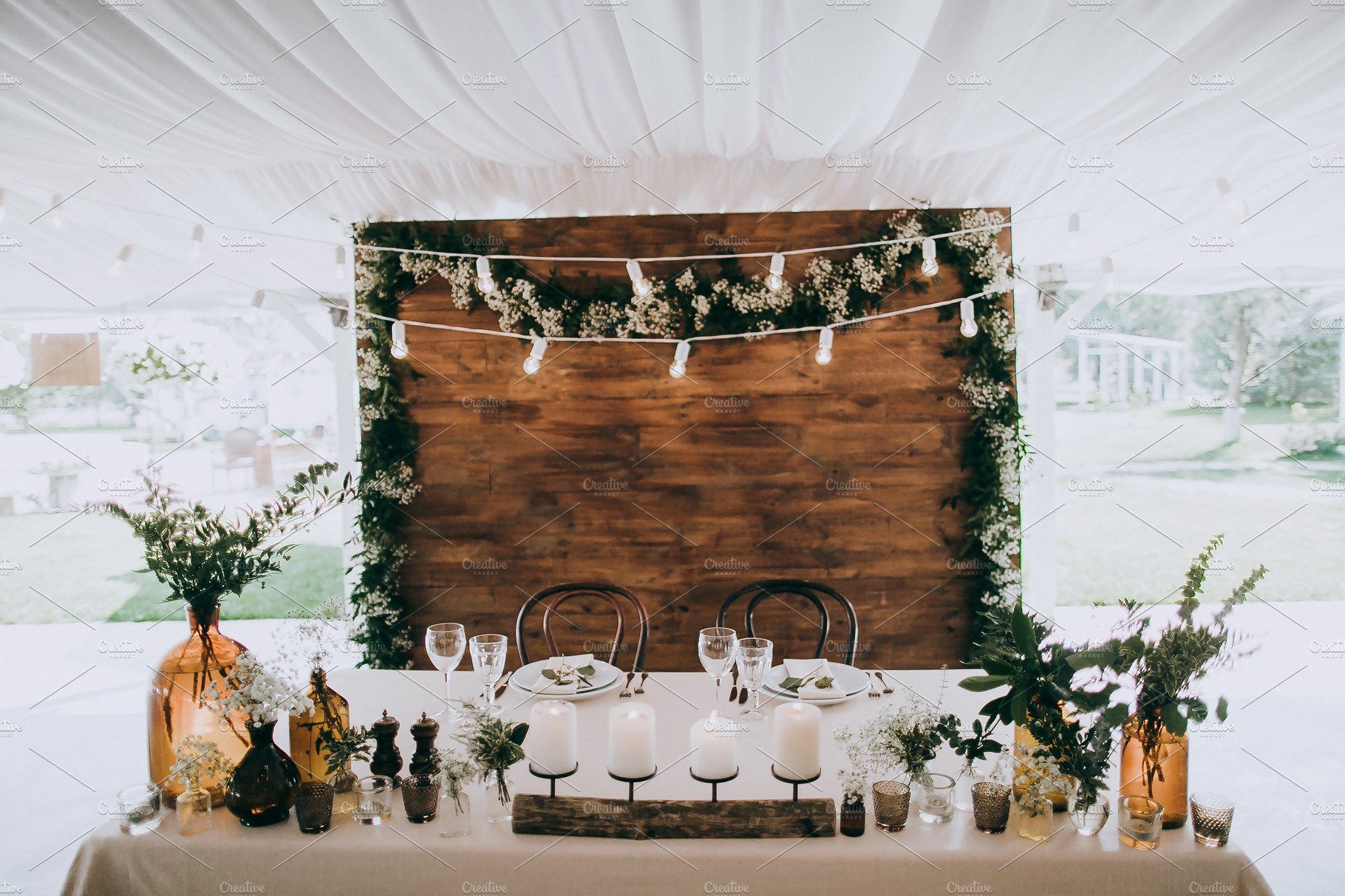 Rustic wedding table decoration | High-Quality Holiday Stock Photos ~  Creative Market