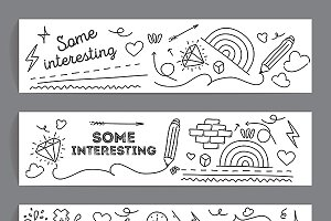 Banners set. Hand drawn doodle style