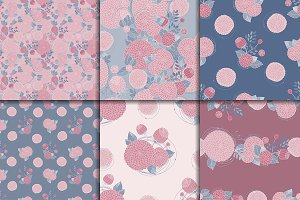 Seamless abstract floral patterns