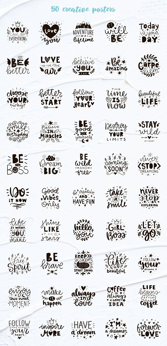 50 Lettering Posters Collection! in Illustrations - product preview 7