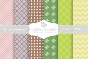 Pastel Geometry Digital Papers