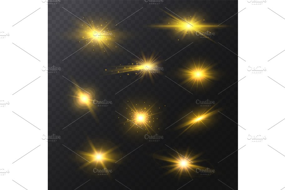 Star Light Sparkles Set. Vector