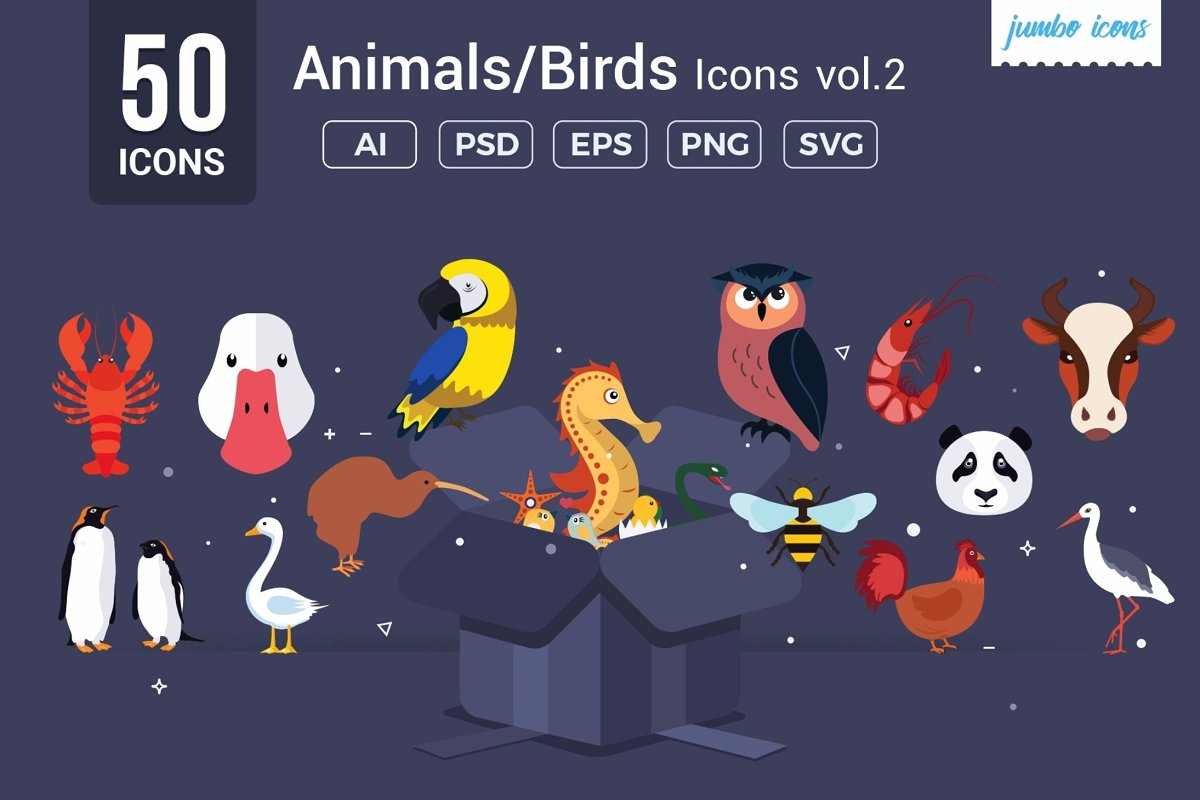 Animals, Birds Vector Icons V2