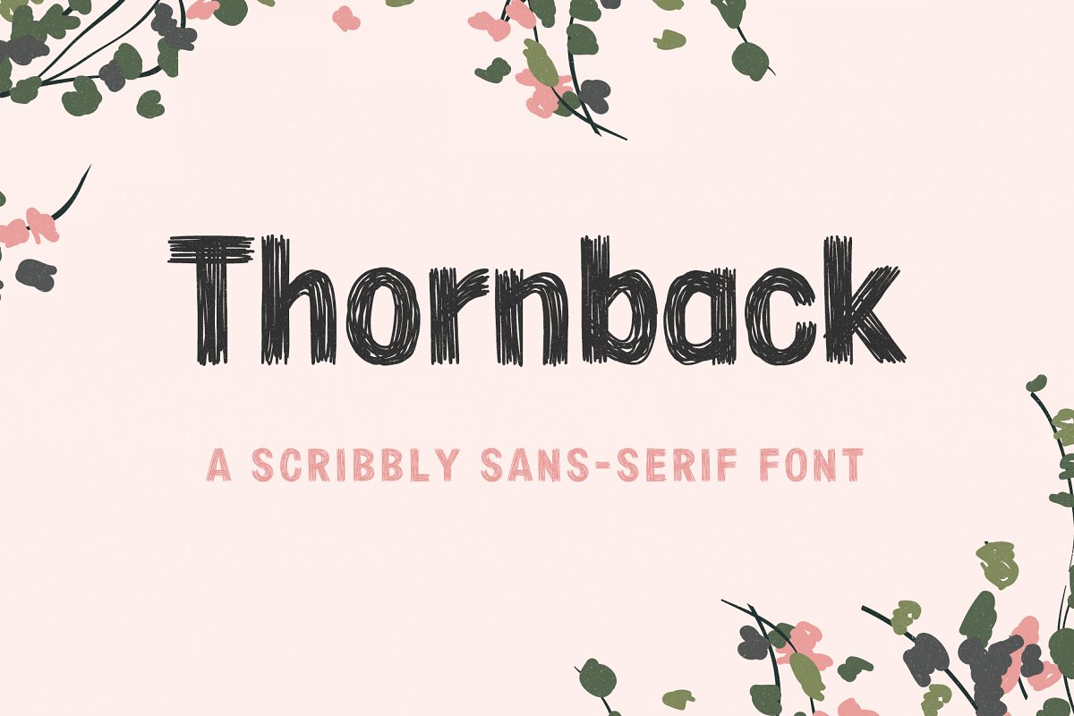 Thornback hand drawn scribbly font