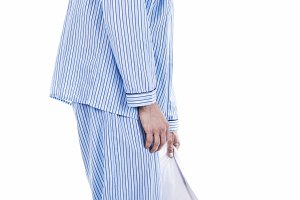 Man in pajamas exhausted