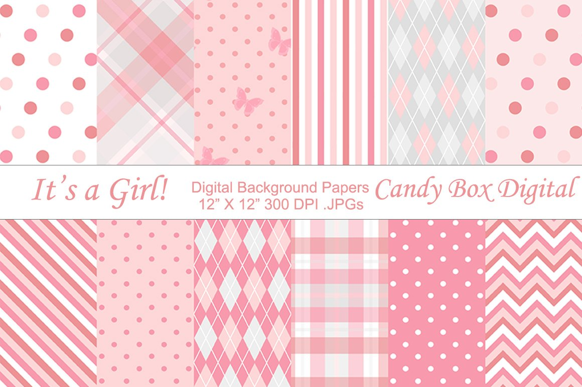 Baby girl background papers graphic patterns creative - Baby background ...