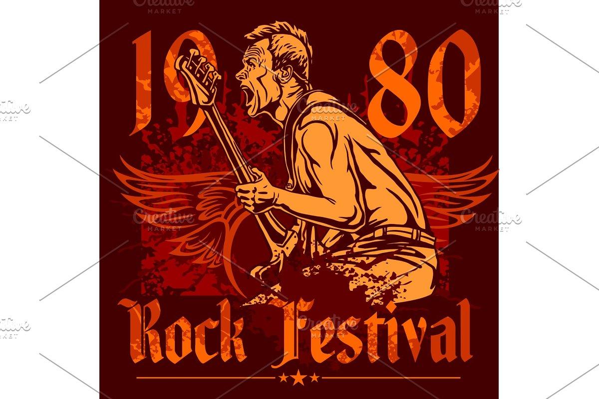 Rock Concert Poster 1980s Vector Illustrations Creative Market