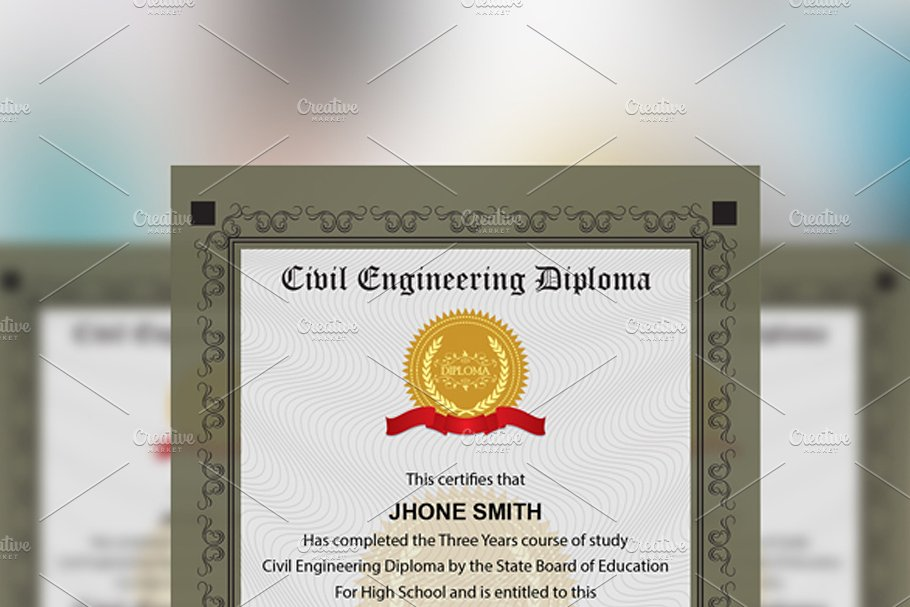 Engineering Diploma Certificate in Stationery Templates - product preview 1