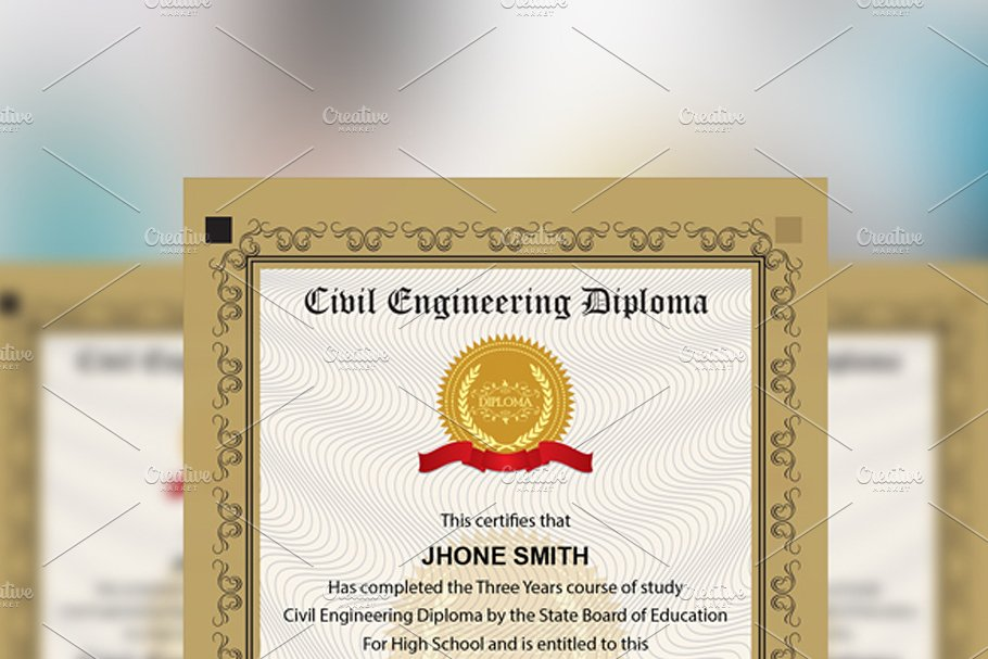 Engineering Diploma Certificate in Stationery Templates - product preview 2
