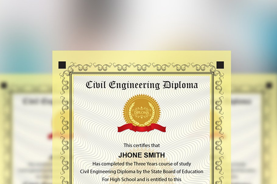 Engineering Diploma Certificate in Stationery Templates