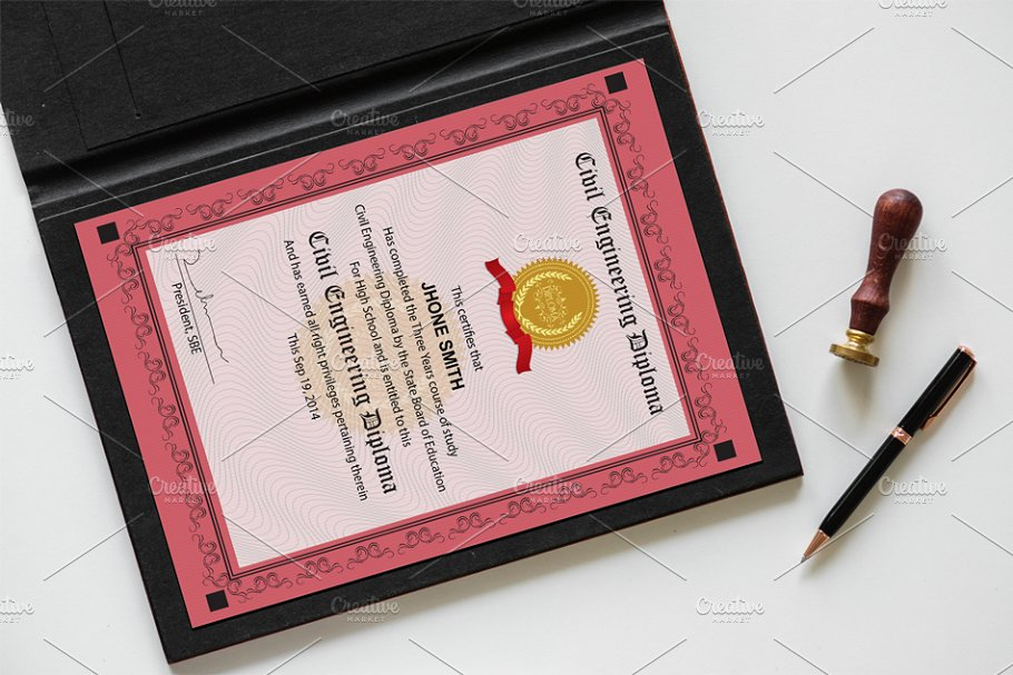 Engineering Diploma Certificate in Stationery Templates - product preview 3