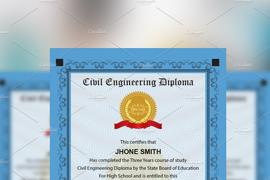Engineering Diploma Certificate in Stationery Templates - product preview 4
