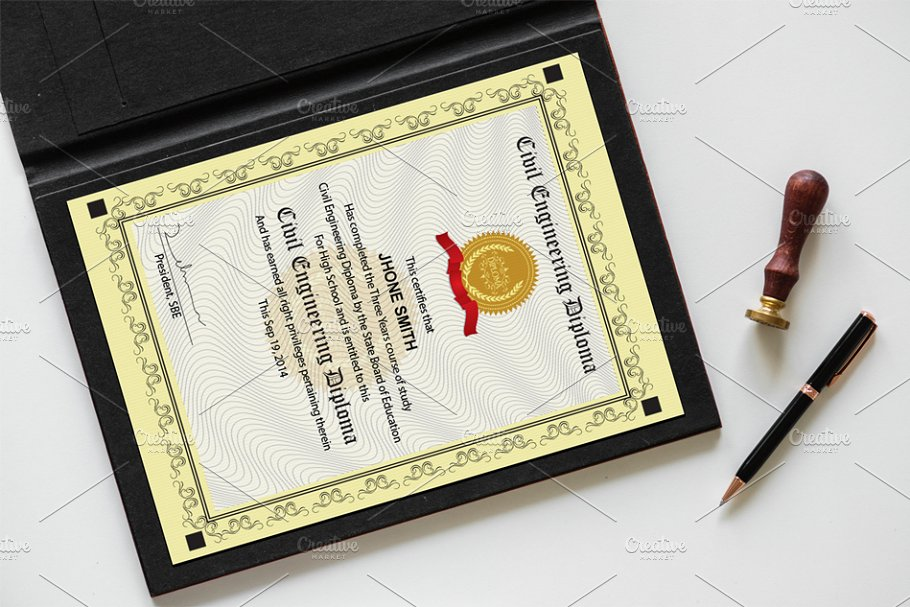 Engineering Diploma Certificate in Stationery Templates - product preview 5